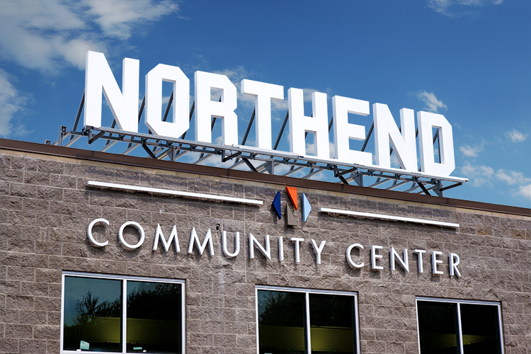 Northend Community Center Project Highlight, Signage Package, Interior Signage, Exterior Signage, Monument Signs, ADA Compliant Signage, Wayfinding Signage, Design Services, Illuminated Signage.